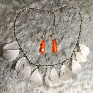 Set of 2 - Feather Necklace & Orange Earrings